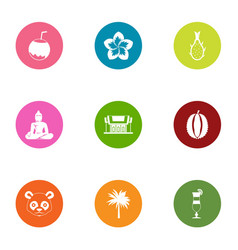 Asian civilization icons set flat style vector