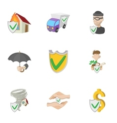 Assurance icons set cartoon style vector