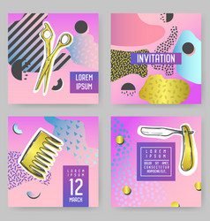 barber shop abstract posters set vector image