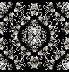baroque black and white vintage seamless pattern vector image