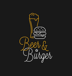Beer and burger linear logo beer glass lettering vector