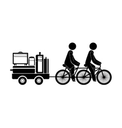 Black silhouette people transporting baggage vector