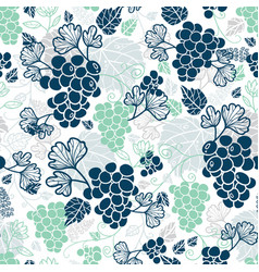 Blue and mint green grapevines fruit repeat vector