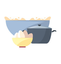 bowl with flour eggs and pot preparation cooking vector image