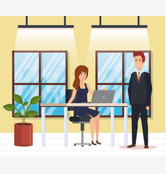 business couple in the workplace vector image