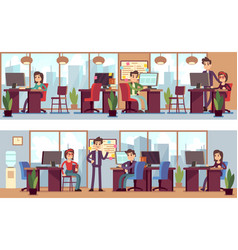 Business employees coworkers in modern office vector