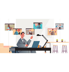 businessman chatting with colleagues during video vector image