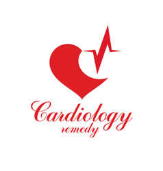 Cardiology conceptual emblem made with a heart vector