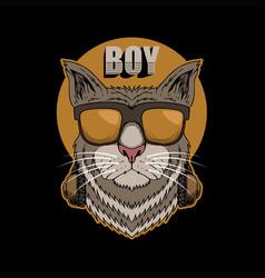 cat boy headphone vector image