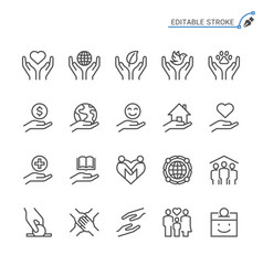 Charity and donation line icons editable stroke vector