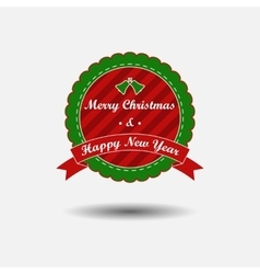 Christmas and New Year label with ribbon vector image