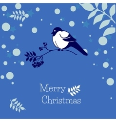 Christmas card with bullfinch and rowan branch vector