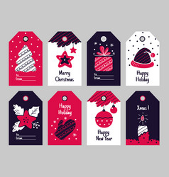 christmas tags new year present and xmas gift vector image