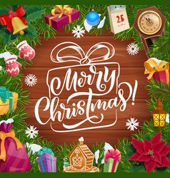 Christmas wreath xmas tree gifts and presents vector