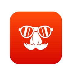 Clown face icon digital red vector