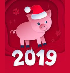 Cut paper postcard new year pig vector