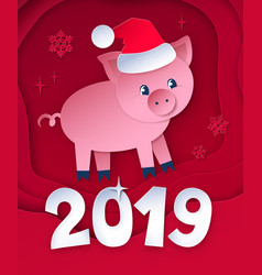 cut paper postcard of new year pig vector image