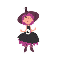 cute girl witch wearing dress and hat decorated vector image