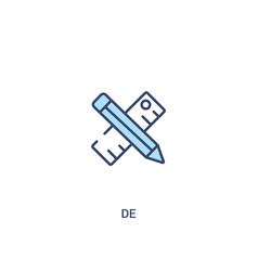 De concept 2 colored icon simple line element vector