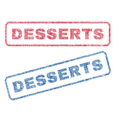 Desserts textile stamps vector