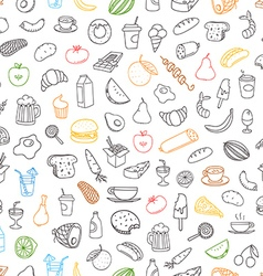 Different color food doodles seamless background vector