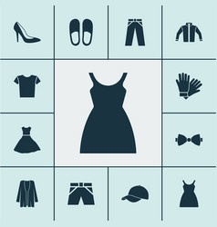 dress icons set with baseball cap glove vector image