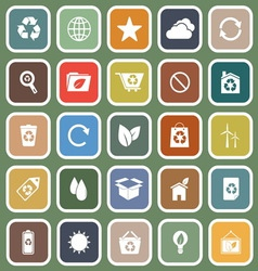 Ecology flat icons on green background vector