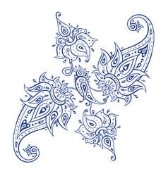 Exotic paisley ethnic ornament hand drawn boho vector