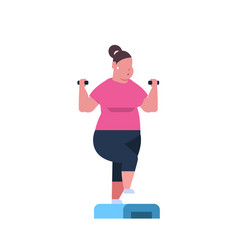 Fat overweight woman holding dumbbells doing vector