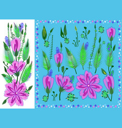 floral elements set with violet daisy type vector image