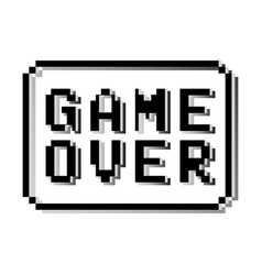 Game over pixel design stamp vector