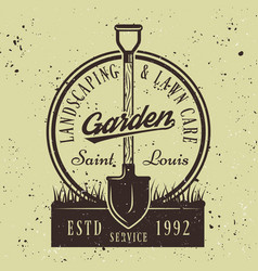 Gardening service round emblem with shovel vector