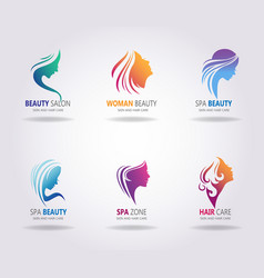 Girls portraits with long beautiful hair vector