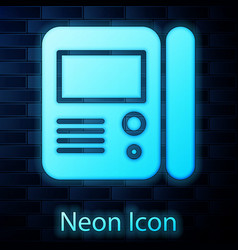 Glowing neon house intercom system icon isolated vector