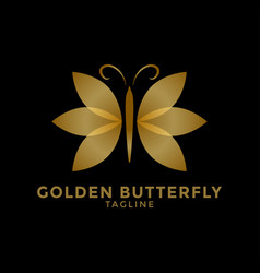golden butterfly logo icon design template vector image