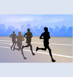 group marathon runners silhouettes on abstract vector image