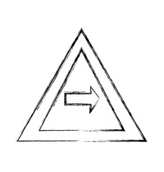 Grunge triangle warning notices with turn right vector