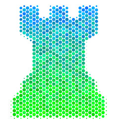 Halftone blue-green chess tower icon vector