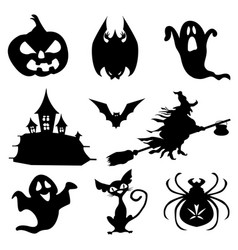 Haloween icons set in black vector
