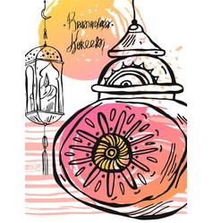 hand drawn ramadan kareem and mosque greeting card vector image