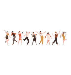 Happy people in retro-styled clothes dancing vector