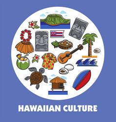Hawaiian symbols hawaii culture traveling vector