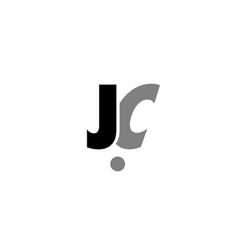 Jc j c black white grey alphabet letter logo icon vector