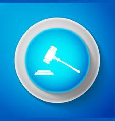 judge gavel icon isolated on blue background vector image
