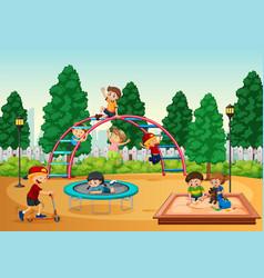 kids in playgrond scene vector image
