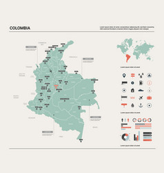 Map colombia high detailed country vector