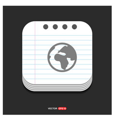 Map icon gray icon on notepad style template eps vector