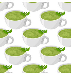 Matcha tea background cup tea isolated vector