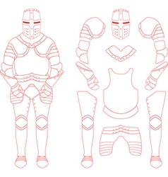 Medieval knight armour set vector