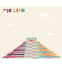 Mexico pyramid travel background vector